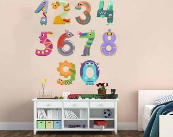 Children's Wall Decal - Numbers and Animals Counting Repositionable. Reusable Peel& Stick -