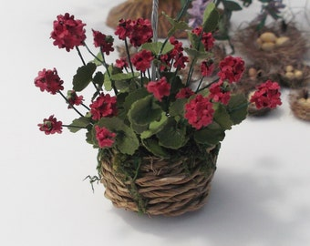1:12 Scale Dollhouse Miniature Garden Red Geraniums in Hanging Basket OOAK by Miss Mini Maker Handmade IGMA