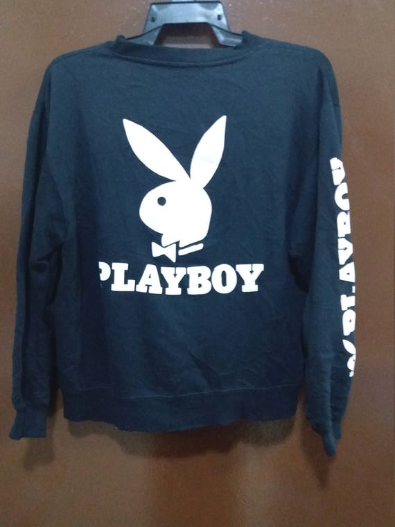 Sale !!! Playboy Bunny Back Big Logo Medium Size Spellout Sweatshirt Hip Hop UJKY3