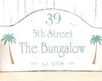 Beach Bungalow sign, custom beach house address sign, Personalized address, lake house decor, custom cottage house number sign, shore house