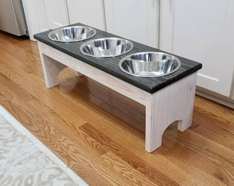 holders bowls cat and wood wooden housed feeder feeders in pet d stand elevated raised a dog stainless steel custom bowl