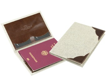 Passport case in a linen/leather combination