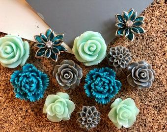 Flower Thumbtack Set, 12 pc Pushpin Set in Teal, Gray and Mint Green, Bulletin Board Tacks, Wedding Decor, Gifts, Housewarming Gift