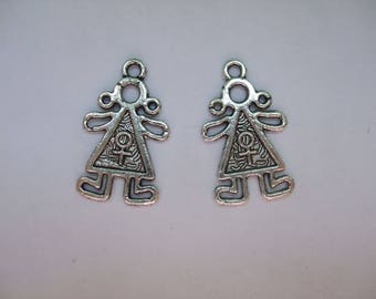 2 girls in silver metal charms