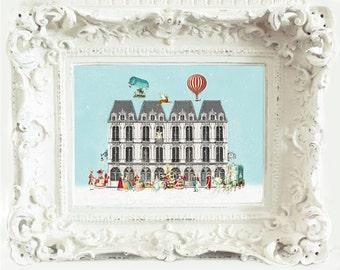 French vintage art print, Paris row houses, vintage hot air balloon, Marie Antoinette, A4 giclee