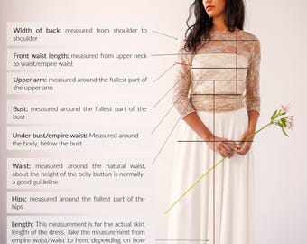 """How-to-measure guide for your FRIDA """"made-to-measure"""" dress, Mimetik Bcn, guide for your Mimetik Dress, wrap wedding dress, how to measure"""