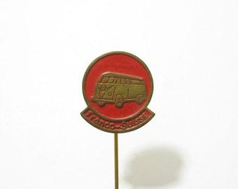 Volkswagen Beetle bus stick pin, Franco-Suisse VW camper advertising pin