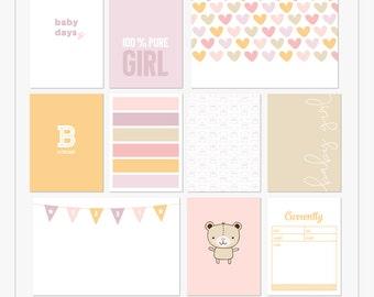 Días de bebé (niña) - tarjetas para imprimir diario de bolsillo y digital scrapbooking diseños Mira