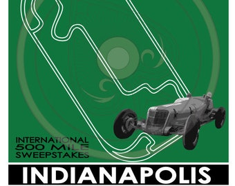 Indianapolis Speedway 500 Vintage Style Poster 2