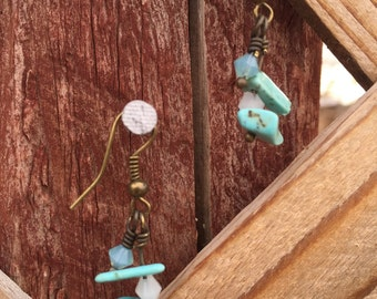 Turquoise Earrings with Swarovski Crystals