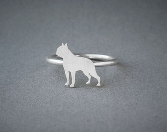 BOSTON TERRIER RING / Boston Terrier Ring / Silver Dog Ring / Dog Breed Ring / Silver, Gold Plated or Rose Plated.