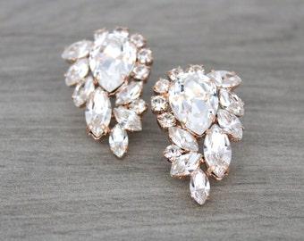 Rose Gold earrings, Crystal earrings, Bridal earrings, Bridal jewelry, Stud earrings, Statement earrings, Swarovski crystal Cluster earrings