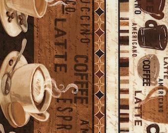 "Coffee Border Stripe Fabric; You Choose Size; C5731; Timeless Treasures; 42/44"" wide; Cafe Au Lait; Coffee Fabric; Latte, Espresso"