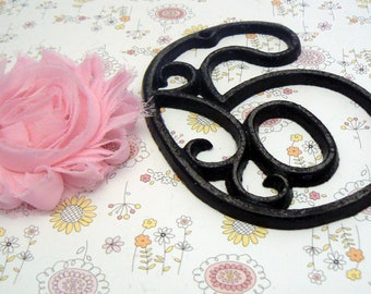 """House Mailbox """" Number 6 Six """" 4.5 Inches Cast Iron Black Shabby Elegance Distressed Victorian Swirl Table Address Accent Number #6"""