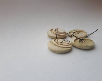 Set of 4 Small Plastic Buttons,Circle Detailed Raised Imprinted Four Holes. Ivory White Cream