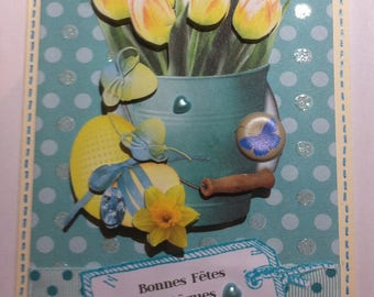Card 3D Easter bucket with yellow tulips and eggs