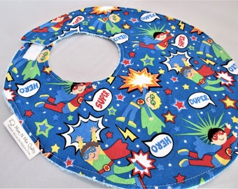 Baby Boy Bib - Toddler Bib - Super Duper Heros on Blue - Designer Cotton Bib with Terry Cloth Backing