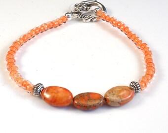 Dainty Coral Women's stackable bracelet, stacking bracelet, statement bracelet, beaded bracelet