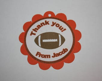 12 Football Die Cut - Favor Tags - Gift Tags - Thank you Tags