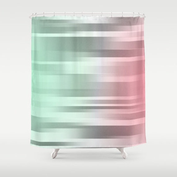 Mint Gray Coral Shower Curtain Green Grey Pink Bathroom