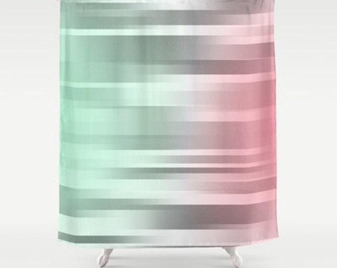 Mint Gray Coral Shower Curtain - Green Grey Pink - Bathroom Decor - Colorful Shower Curtain - Made to Order