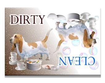 Basset Hound Clean Dirty Dishwasher Magnet No 1