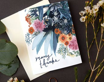 Many Thanks Greeting Card | Watercolor Thank You Card