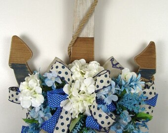 Anchor Floral Door Hanger Wreath, Nautical Door Hanger, Anchor Wreath, Beach Decor,