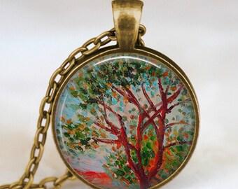 Claude monet necklace ,monet  pendant , best friend gift ,tree art pendant ,spring jewelry, monet jewelry,Impressionist  jewelry