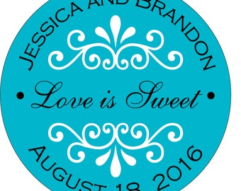 80 - 2 inch Custom Glossy Waterproof Wedding Stickers Labels -many designs to choose from - change designs to any color or wording WR-054