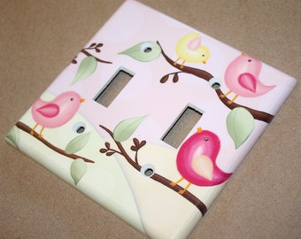 LIGHT SWITCH Cover Girls Bedroom Pretty Little Birdie Girl Baby Nursery Double Light Switch Cover Toggle Outlet cover