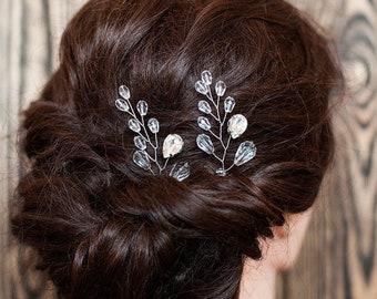 Bridal Hair Pin Set of 2 Wedding Crystal Hair Piece Boho Hair Vine Bridesmaid Gift Swarovski Hair Vine Elegant Bride Exclusive Hair Jewelry