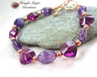 Purple Bracelet, Amethyst Gemstone February Birthstone, Swarovski Crystal Heart, Copper, Women Feb Birthday, Romantic Gift for Wife  B113