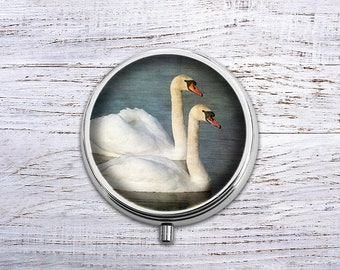 Swan, Pill Box Case Trinket Box Vitamin Holder Medicine Box Mint Tin Gifts For Her