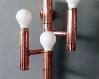 copper pipe industrial wall light sconce