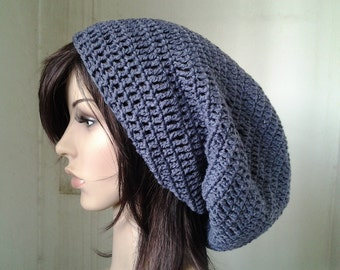 Handmade Crochet Long Plain Single Color Slouch - Dark Grey LS19 - made to order