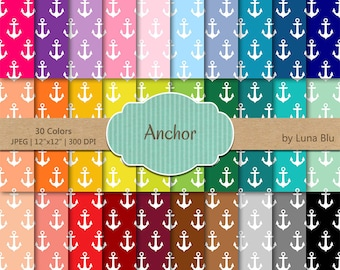 "Anchor Digital Paper pack: ""Rainbow Anchors"" digital paper bundle, Anchor scrapbook paper, nautical digital paper, commercial use"