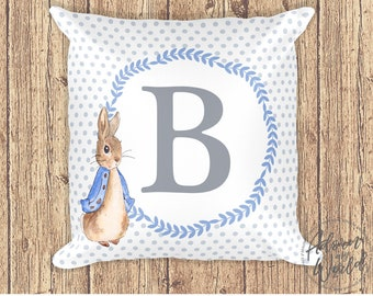 Peter Rabbit Pillow, Personalized Letter Pillow, Peter Rabbit Cushion, Monogram Pillow, Nursery Decor, Gift For Boy, Pillow With Letter