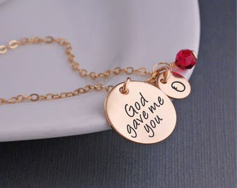 Gold God Gave Me You Necklace, Mother's Day Jewelry Gift for Mother, Jewelry Christmas Gift, Religious Jewelry for Mom