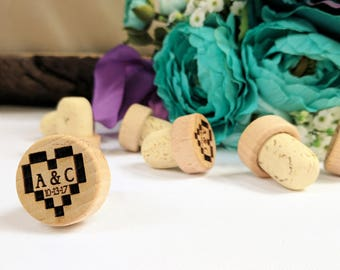 Personalized Natural T-Corks with Wood Tops, Etched Wedding Favors, Table Markers, Engraved Cork Stopper, Elegant Winery Wedding Anniversary