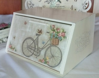 Bike wooden breadbox White wood bread box bicycle Shabby chic bread bin French style storage Provence decor