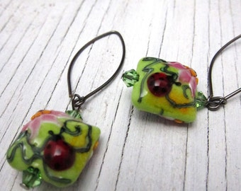 Ladybug Lampwork Earrings, Floral Springtime Murano Glass Earrings, Handcrafted Jewelry Handmade Jewelry