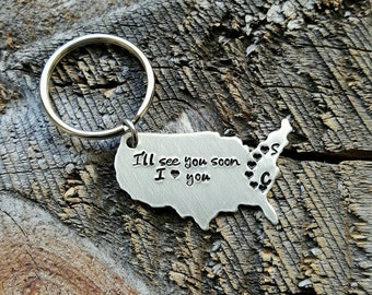 Personalized Initials USA keychain Gift hand stamped I Love You long distance relationship couples gift Best Friends Gift United States