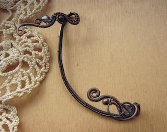 ear cuff no piercing, ear wrap, wire wrapped jewelry, boho jewelry, fantasy jewelry, gothic jewelry elf ear cuff copper jewelry - MAGIC RUNE