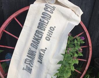 Vintage Bakery Grain Sack, Frank Baker Bread Lima Ohio, Bemis Seamless A Extra Heavy, Rustic Heavy Cotton Upholstery Fabric