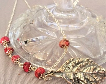 Pink Jasper and Antique Silver Leaf Pendant Asymmetrical Necklace; Leaf Necklace; Pink and Silver Leaf Necklace; Asymmetrical Necklace