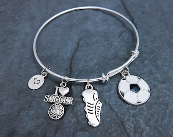 Soccer Bracelet - Charm Bracelet - Soccer Gifts - Expandable Bangle - Soccer Jewelry - Soccer Mom - Soccer Ball - Team Gifts - Personalized