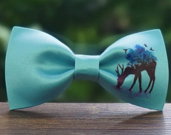 Handmade Bambi Deer with Flowers on the horns Bowtie