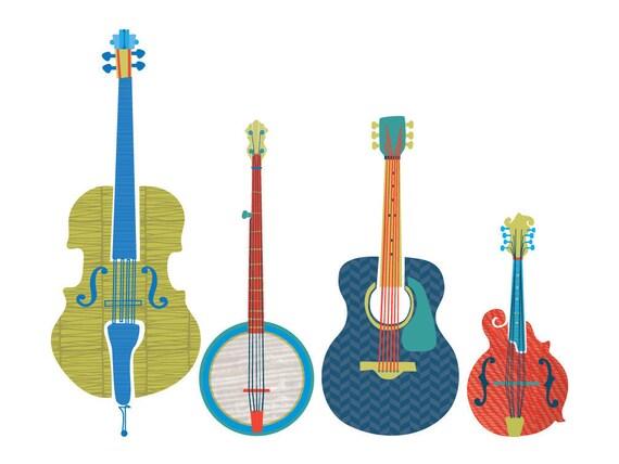 bluegrass instrument art print rh etsy com Banjo Clip Art bluegrass gospel clipart