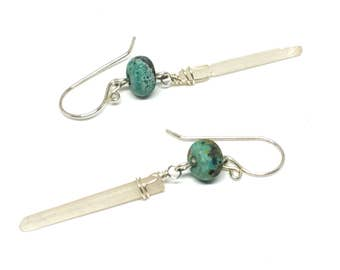 Rose Quartz Earrings, Raw Crystal Earrings, Raw Stone Earrings, Raw Quartz Earrings, Sterling Silver, Long Earrings for Women, Rose Quartz